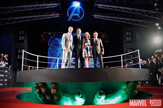 Chris Hemsworth, Tom Hiddleston, Scarlett Johansson and Mark Ruffalo at the red carpet premier of Marvel's The Avengers in Rome