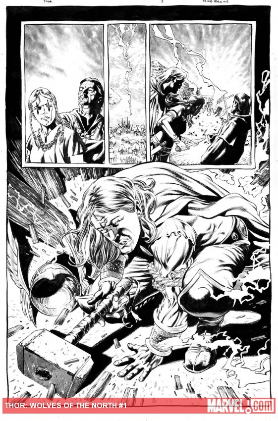 Thor: Wolves of the North black and white preview art by Mike Perkins