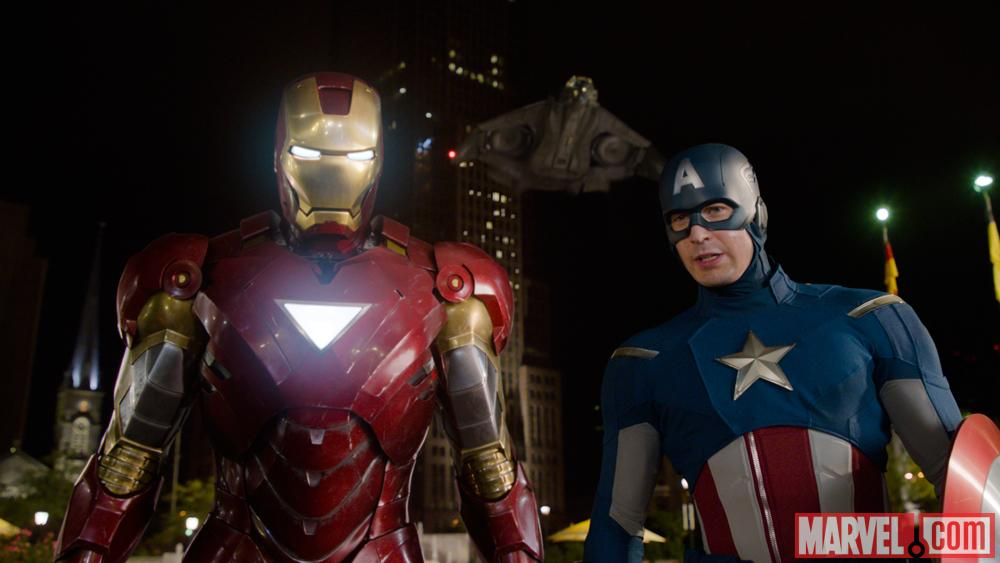 Iron Man (Robert Downey Jr.) and Captain America (Chris Evans) in Marvel's The Avengers