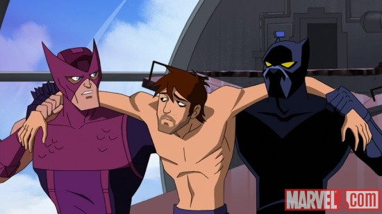 Hawkeye, Black Panther and Bruce Banner in The Avengers: Earth's Mightiest Heroes!