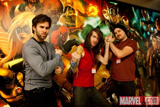 Mayday Parade members Jake Bundrick, Derek Sanders and Jeremy Lenzo at Marvel HQ in NYC