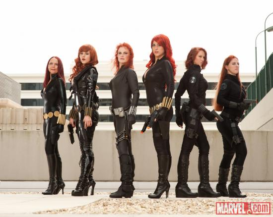 Marvel Costuming: Black Widows at Dragon*Con 2012