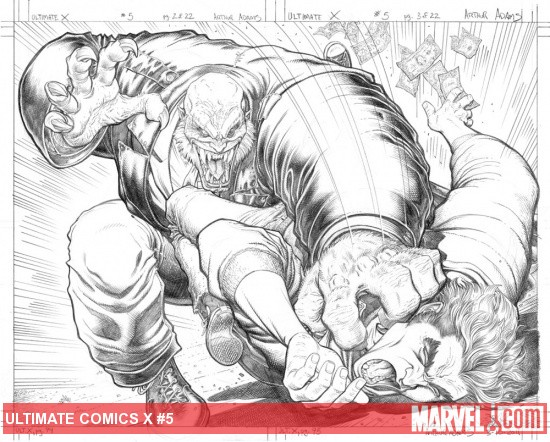 Ultimate Comics X #5 pencil preview art by Arthur Adams
