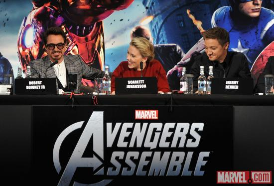 "Robert Downey, Jr., Scarlett Johnansson and Jeremy Renner at the London premiere press conference of ""Marvel's The Avengers"""
