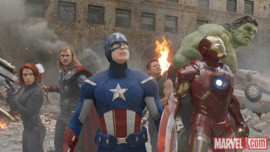 Black Widow, Thor, Captain America, Hawkeye, Iron Man and Hulk in 'Marvel's The Avengers'