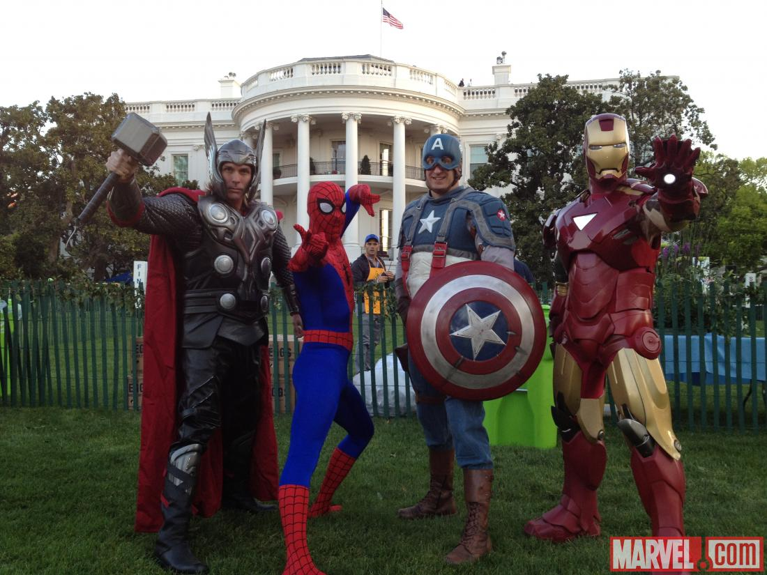 Thor, Iron Man, Captain America and Spider-Man at the White House Easter Egg Roll