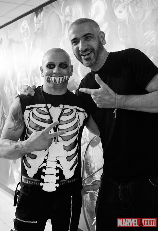 Editor-in-Chief Axel Alonso with Eric Chupacabra of The Misfits at Marvel HQ in NYC