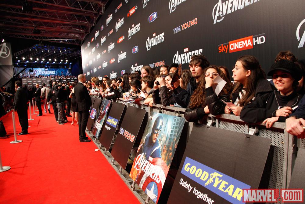 Avengers fans at the red carpet premiere of Marvel The Avengers in Rome