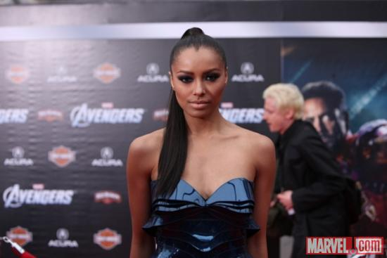 Kat Graham from Vampire Diaries on the Avengers red carpet