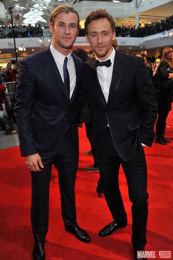 "Chris Hemsworth and Tom Hiddleston at the London premiere of ""Marvel's The Avengers"""
