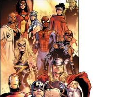 Image Featuring Thor, Wiccan, Captain Marvel (Carol Danvers), Avengers, Winter Soldier, Luke Cage, Captain America, Hulkling, Iron Man, Patriot, Spider-Woman (Jessica Drew)