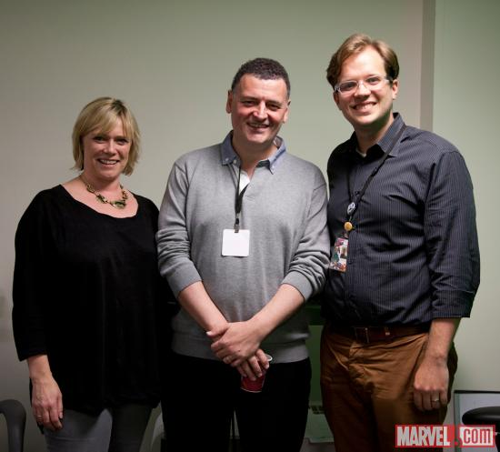 Sherlock Executive Producers Steven Moffat and Sue Vertue with Marvel Senior Editor Nick Lowe