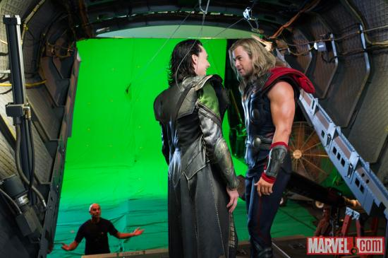 Tom Hiddleston (Loki) and Chris Hemsworth (Thor) on the set of Marvel's The Avengers