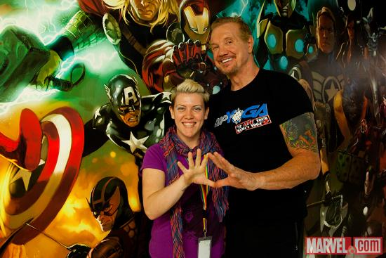 Diamond Dallas Page with Marvel AR producer Judith Stephens Marvel HQ