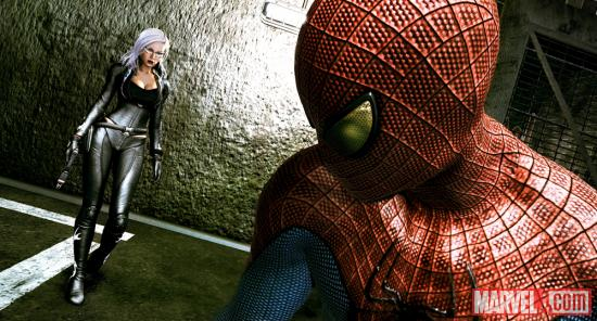 Screenshot of Felicia Hardy and Spider-Man in the Amazing Spider-Man video game