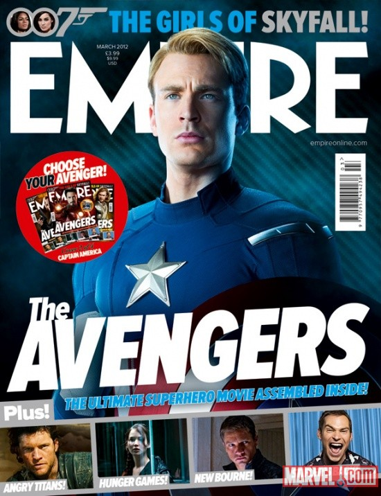 Empire Magazine March 2012 Avengers cover featuring Chris Evans as Captain America