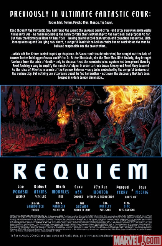 ULTIMATUM: FANTASTIC FOUR REQUIEM, intro page