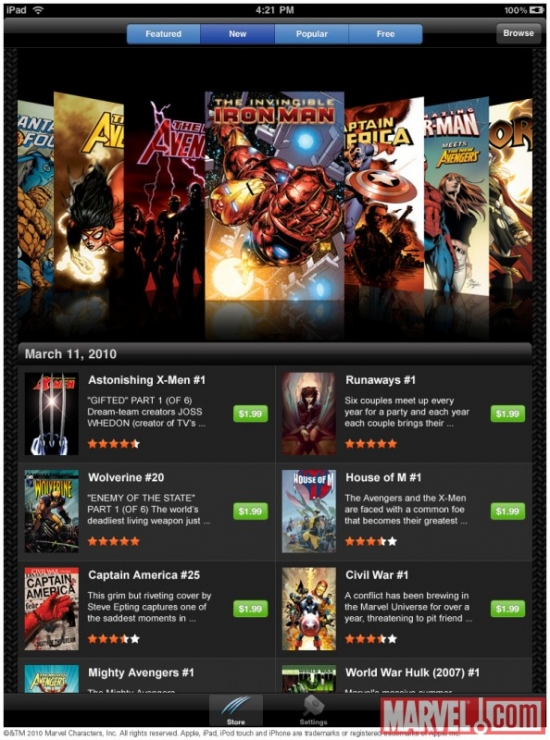 The Marvel Comics App on the iPad