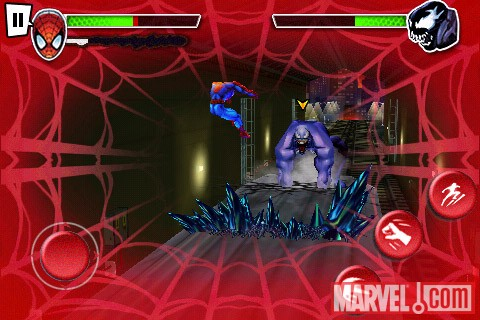 Screenshot of Venom attacking Spider-Man in ''Spider-Man: Total Mayhem''