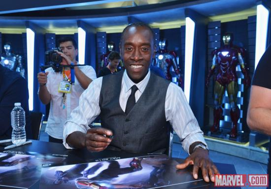 Iron Man 3 star Don Cheadle signing at the Marvel Booth at SDCC 2012