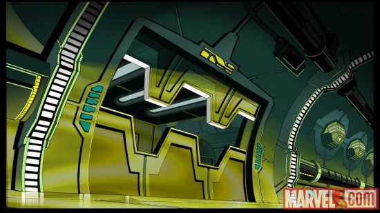 The Damocles' time engine room from The Avengers: Earth's Mightiest Heroes!