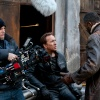 Director Brian Taylor, Nicolas Cage and Idris Elba on set of Ghost Rider: Spirit of Vengeance
