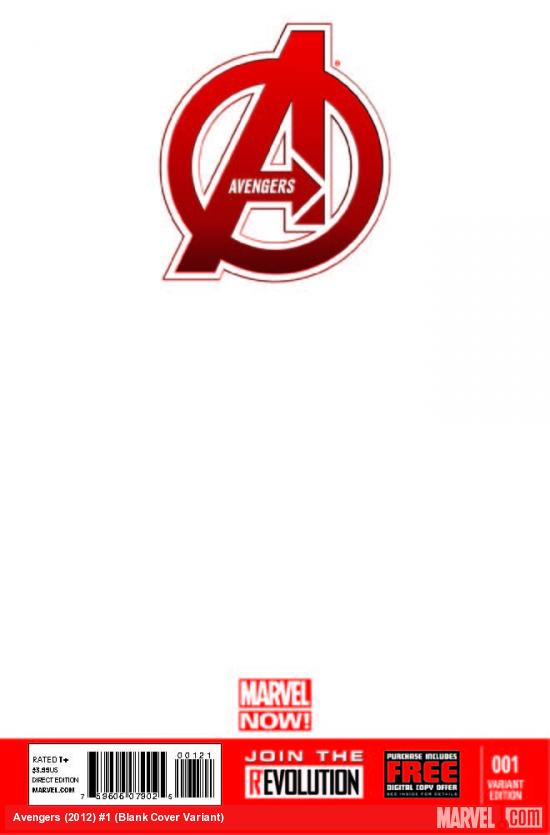 AVENGERS 1 BLANK COVER VARIANT (NOW, WITH DIGITAL CODE, INTERIORS ONLY)