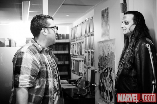 Agent M with Dez Cadena of The Misfits at Marvel HQ in NYC