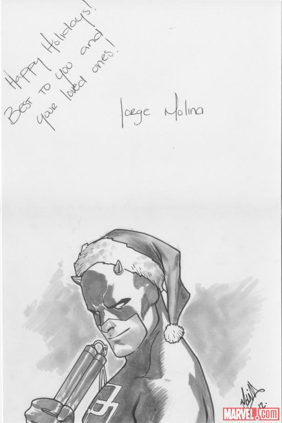 2012 Happy Holidays sketch card from Jorge Molina, featuring Daredevil