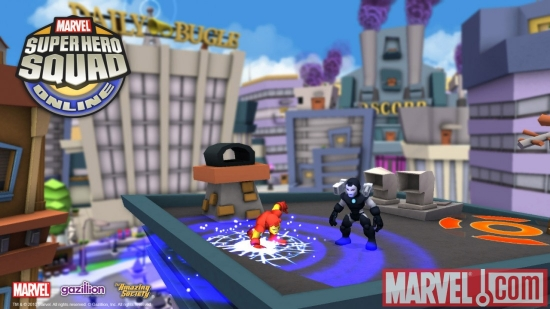 Screenshot of Iron Man and War Machine from Super Hero Squad Online