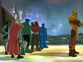 The Hulks journey to Asgard to meet Thor and Heimdall in Marvel's Hulk and the Agents of S.M.A.S.H.
