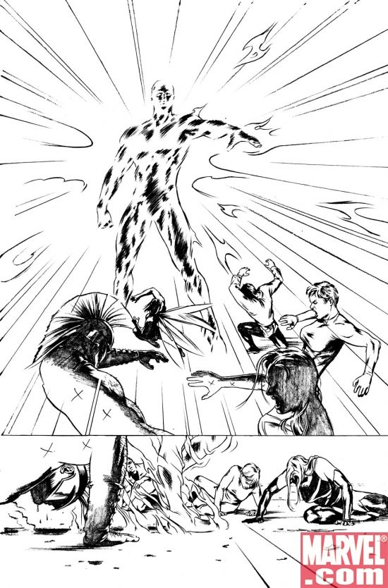 AVENGERS/ INVADERS #6 black and white preview art
