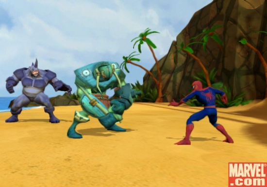 Spidey and the Rhino surround a bad guy.