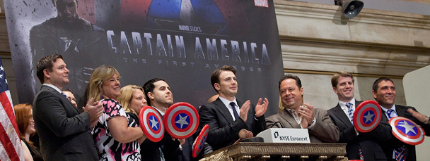 Chris Evans Rings the Opening Bell at the NYSE