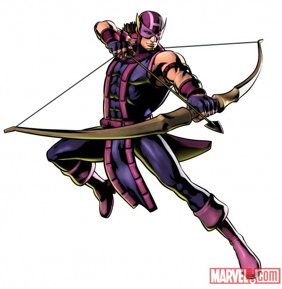 Hawkeye character art from Ultimate Marvel vs Capcom 3 by Capcom