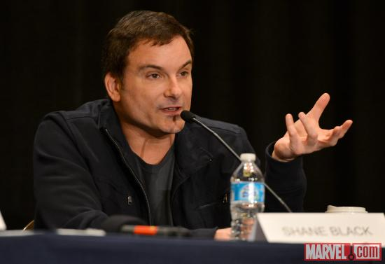 Iron Man 3 director Shane Black at Marvel Studios' Hall H presentation at SDCC 2012