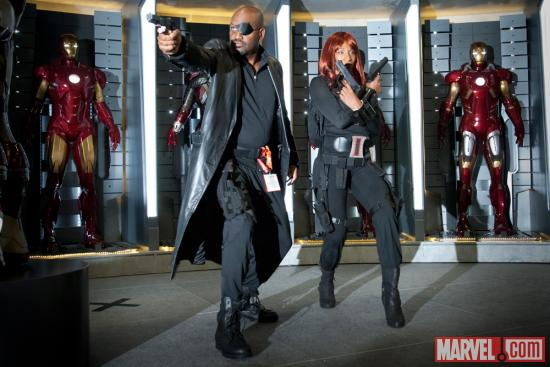 SDCC 2012: Nick Fury & Black Widow Cosplayers at Marvel Costume Contest Sponsored by ®KÀ™ by Cirque du Soleil®