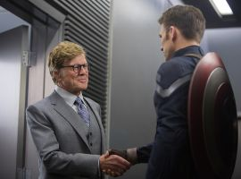 Robert Redford and Chris Evans star as Alexander Pierce and Captain America in Marvel's Captain America: The Winter Soldier
