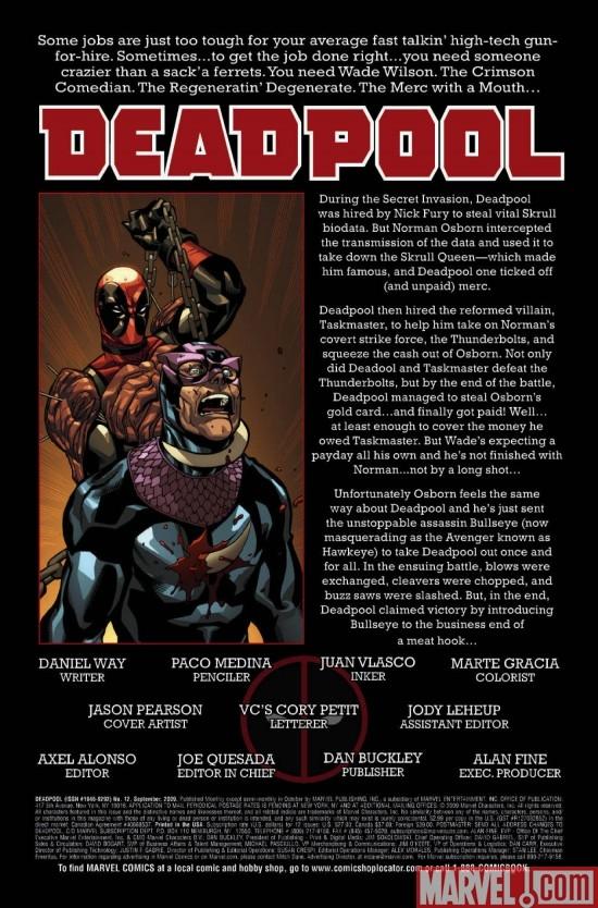 DEADPOOL #12, intro page