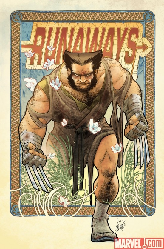 RUNAWAYS #9 Wolverine Art Appreciation variant cover by David Lafuente in the style of Alphonse Mucha