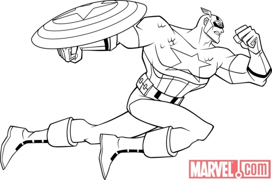 Black and white lineart of Captain America from 'The Avengers: Earth's