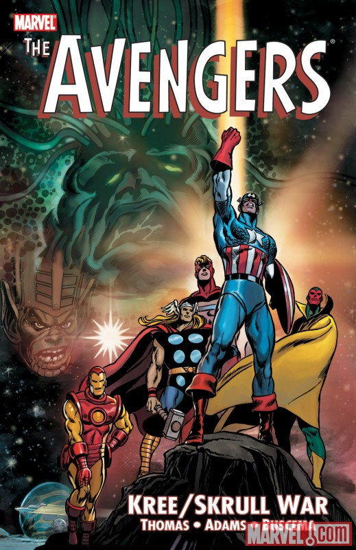 Image Featuring Captain America, Iron Man, Skrulls, Thor, Vision, Supreme Intelligence