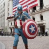 Captain America stands ready outside the NYSE. Photo By Ben Hider