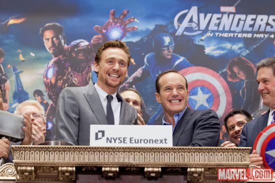 Tom Hiddleston (Loki) & Clark Gregg (Agent Phil Coulson) ring the opening bell at the New York Stock Exchange