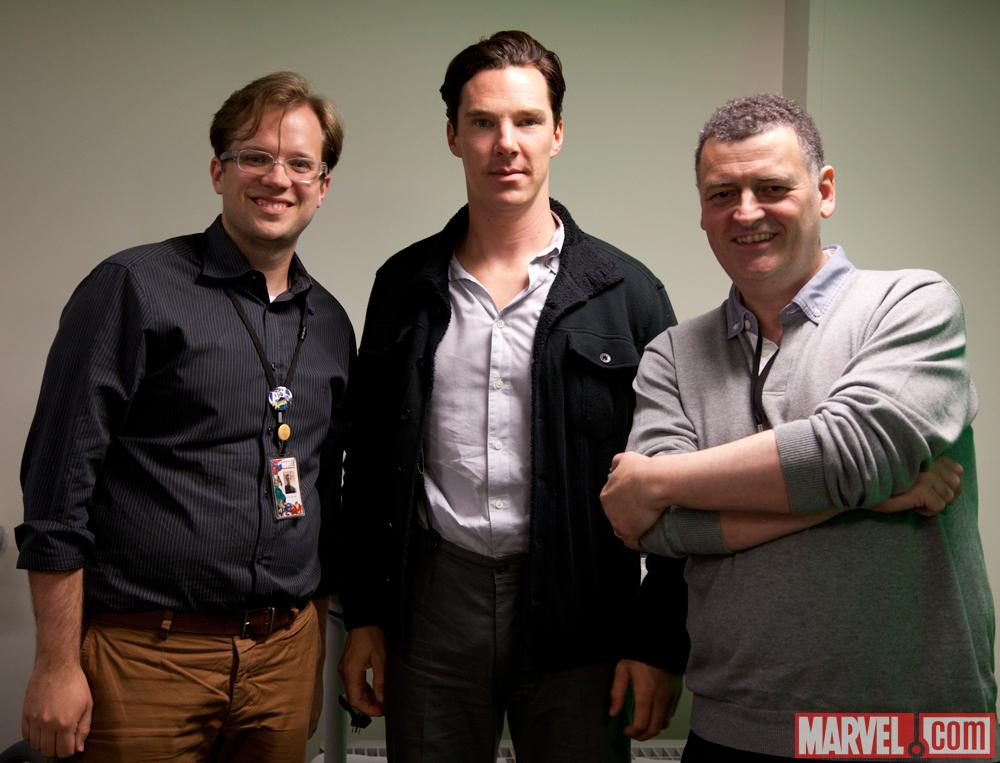 Sherlock Star Benedict Cumberbatch and Executive Producer Steven Moffat with Marvel Senior Editor Nick Lowe