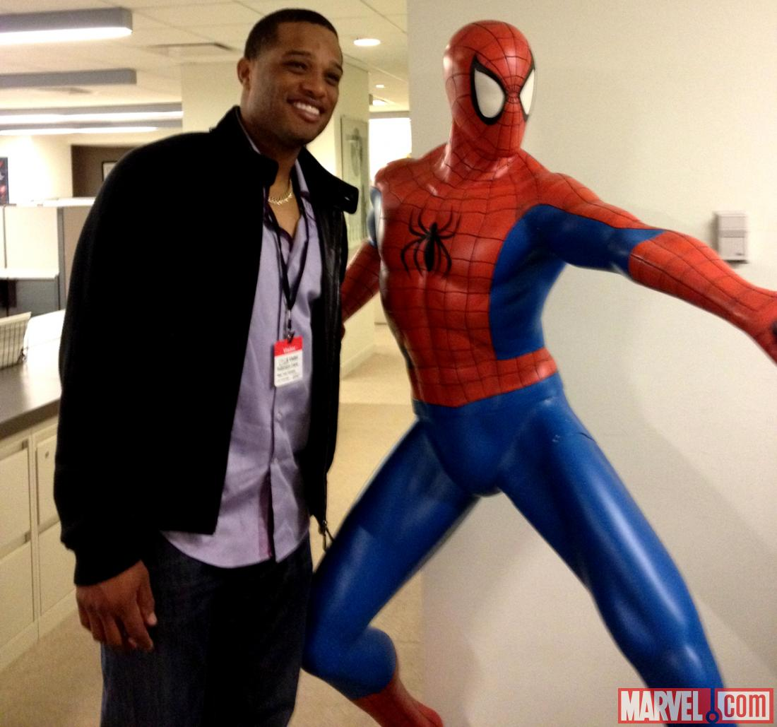 Robinson Cano and Spider-Man at Marvel HQ