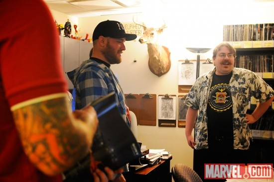 Marvel Editor Jordan White with New Found Glory member Steve Klein at Marvel HQ in NYC