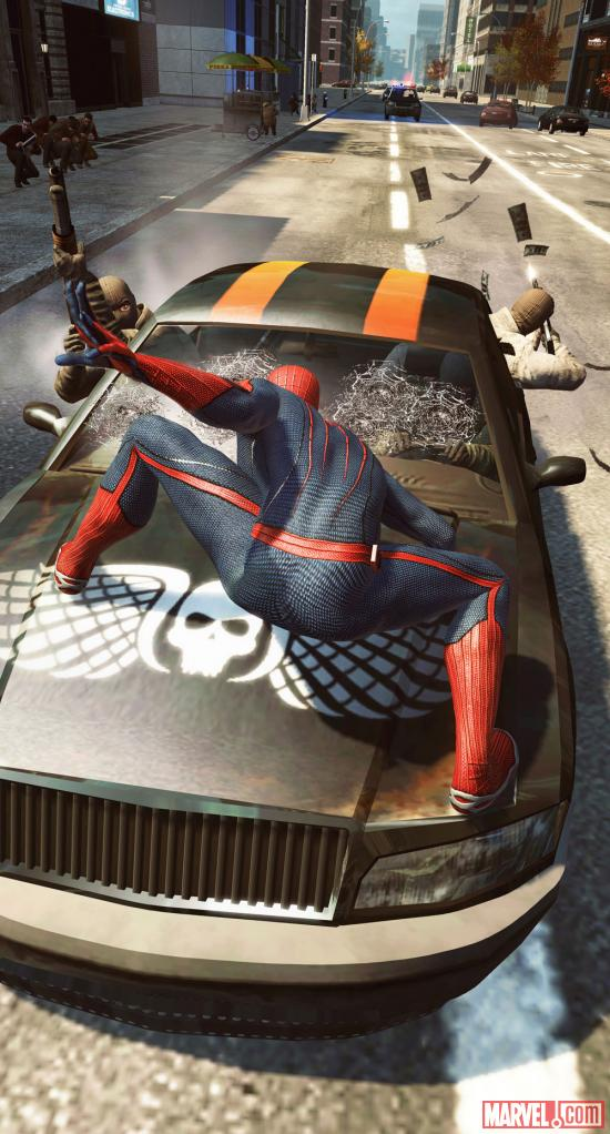 Spider-Man in the midst of action in The Amazing Spider-Man video game