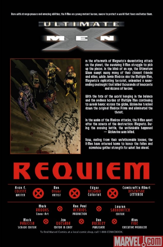 ULTIMATUM: X-MEN REQUIEM, intro page
