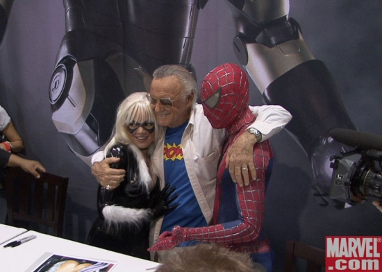 Stan Lee with Black Cat and Spider-Man